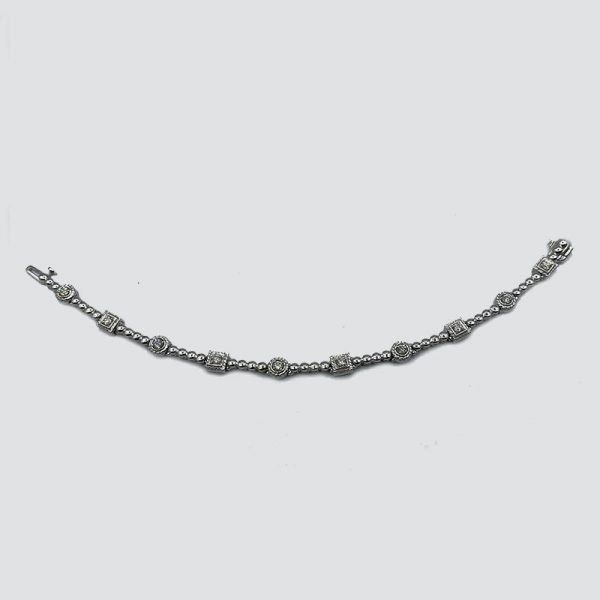14k White Gold Bracelet with Round and Square Diamond Links