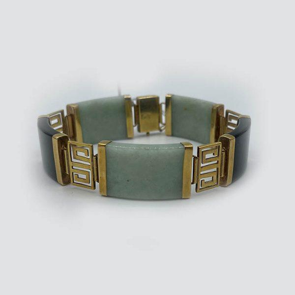 14kt gold-jade-onyx bracelet