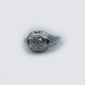 18k White Gold Sapphires and Diamonds