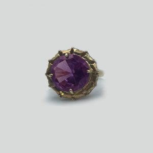 Alexandrite round ring with 14K yellow gold setting
