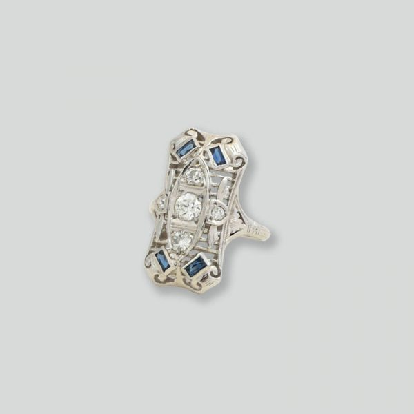 Diamond Sapphire vintage ring mine diamonds