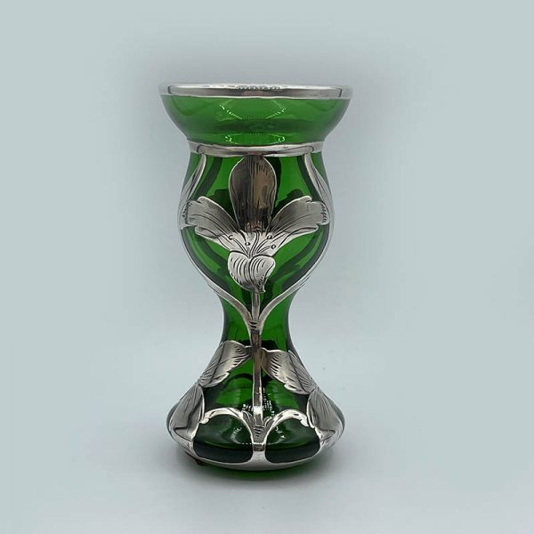 Art Nouveau Green Vase with Floral Sterling Overlay