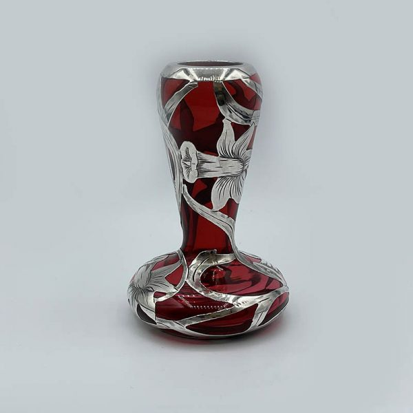 Art Nouveau Red Vase with Floral Sterling Overlay