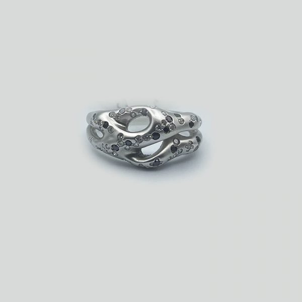 Black white diamond ring in brushed gold