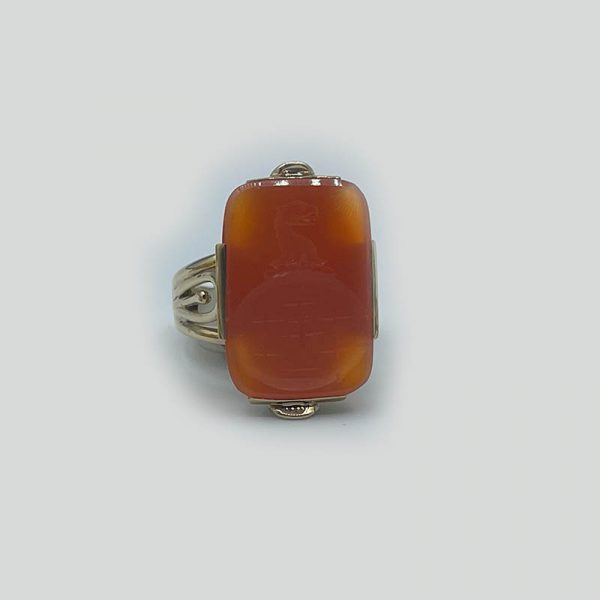 Carnelian Carved Stone Ring 14K Gold Setting