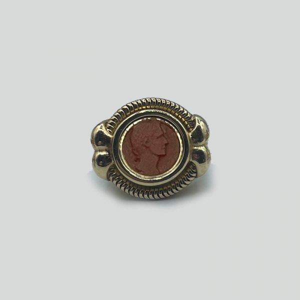 Carved Carnelian Stone Ring 12K Yellow Gold