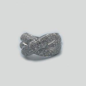 Criss cross pave diamond ring