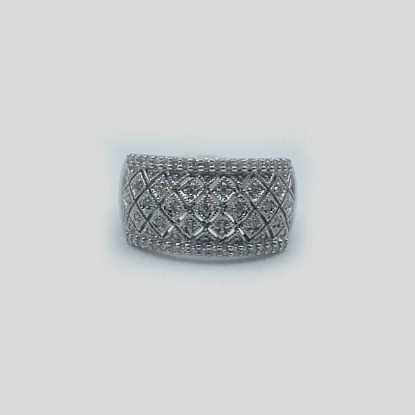 Diagonal Square Diamond Ring