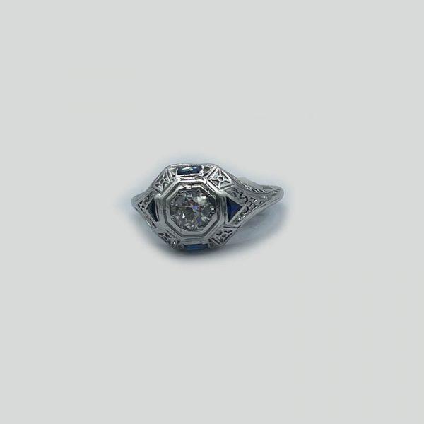Diamond and Sapphire hexagon ring