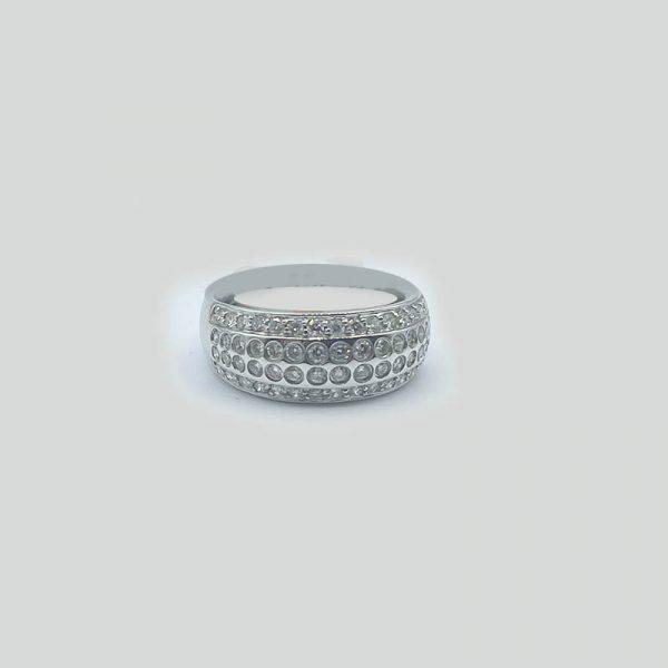 Dome top diamond ring set in 18K white gold