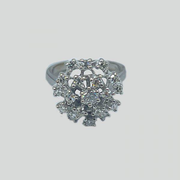 Flower burst diamond ring