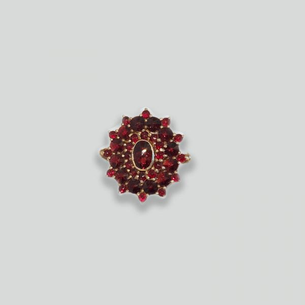 Garnet Ring Victorian Design 14K Gold