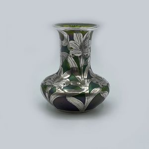 Green Glass Vase in Art Nouveau design with silver overlay