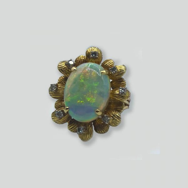 Opal and Diamond Ring 14K yellow gold