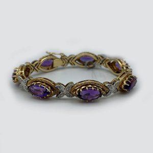 Oval Amethyst and Diamonds Bracelet