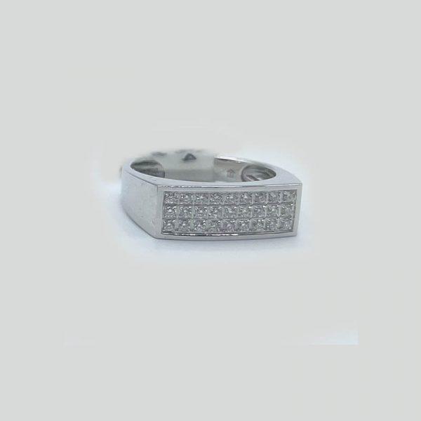 Rectangular diamond ring 3 rows 18K white gold