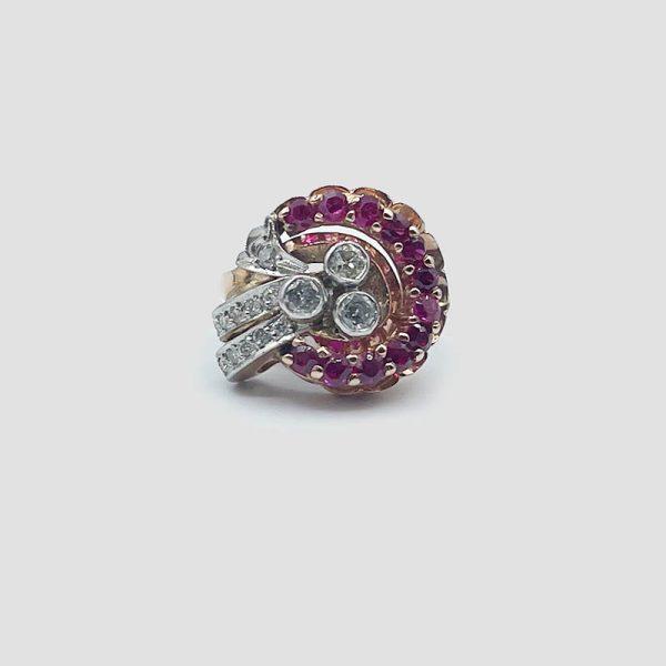 Ruby Diamond Cocktail Ring, vintage circa 1940's