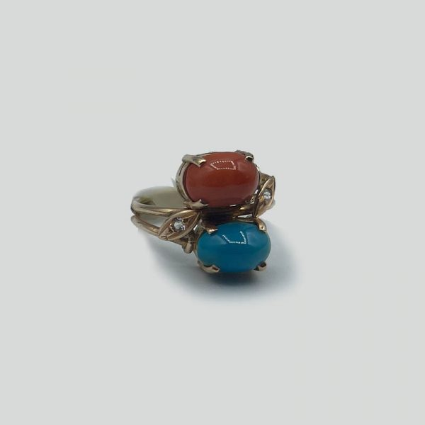 Turquoise and coral ring in 14K gold diamond accents