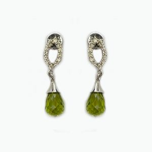 14K White Gold Earrings with Diamonds and Peridot Drop