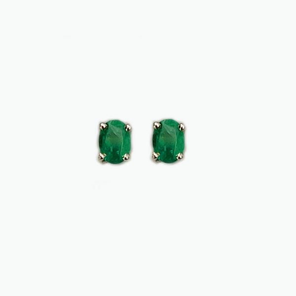 14K White Gold Earrings with Inset Emerald