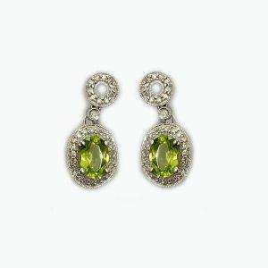 14K White Gold Earrings with Oval Peridot Drop