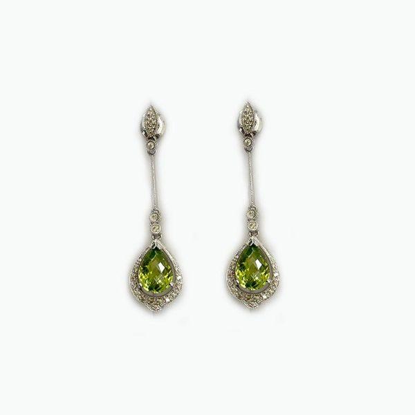 14K White Gold Earrings with Peridot Drop