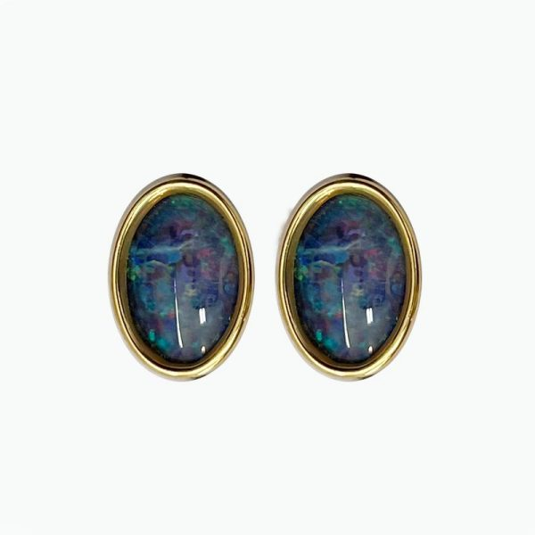 14k Gold Oval Earrings with Opal Inset