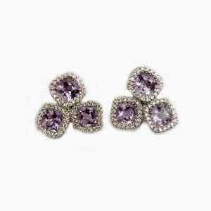 14k White Gold purple earrings