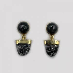 14k gold Black Moss Agate Earrings