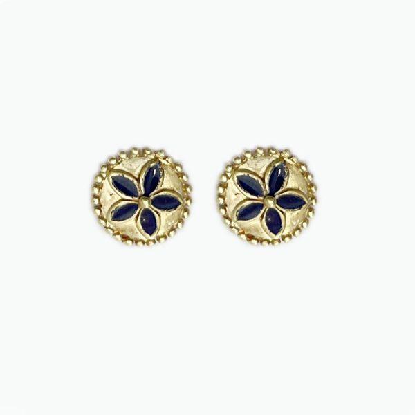 14k gold Floral Enamel Earrings