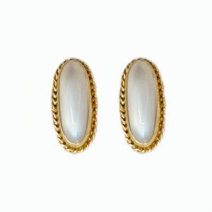 14k gold Oval Moonstone Earrings
