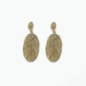 14k gold Oval Swirls Earrings