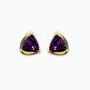 14k gold Triangular Amethyst Earrings