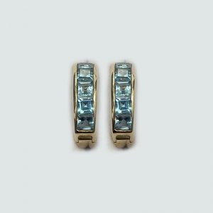 14k gold blue topaz earrings