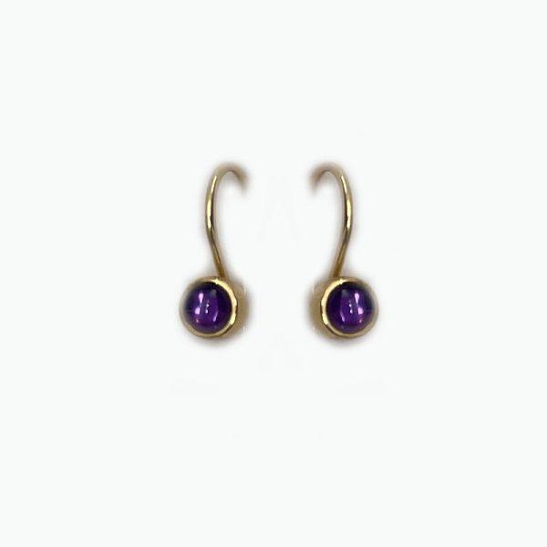 14k gold hook style earrings with Amethyst