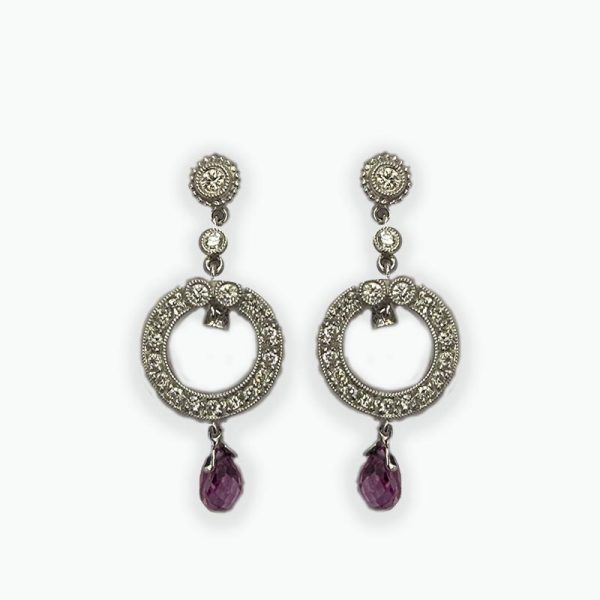 18K White Gold Circular Drop Earrings with Pink Sapphire