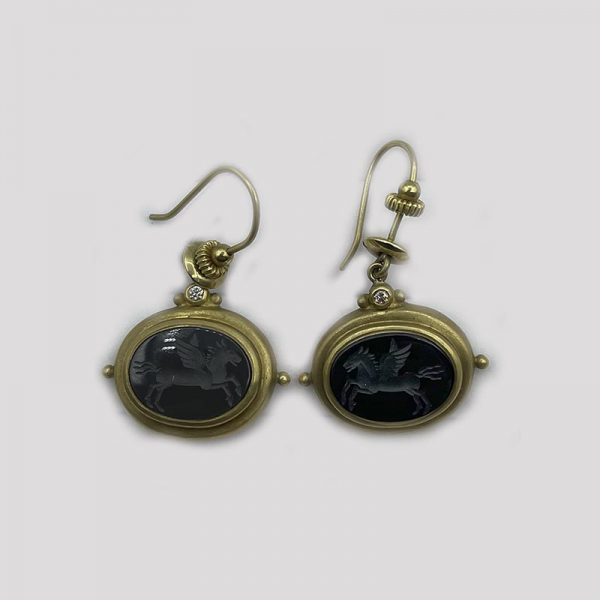 18k gold black onxy earrings with winged horse