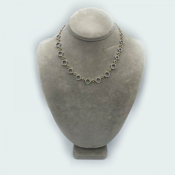 Cascading Diamond necklace with diamond shapes