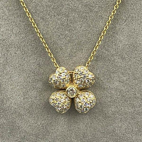 Diamond 4-leaf clover pendant2
