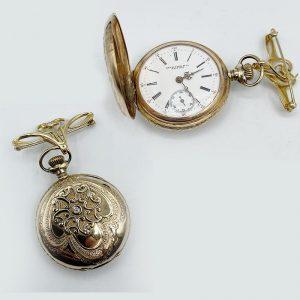 Geo A. Cook Watchmaker Brooch Pocket Watch Vintage 1890