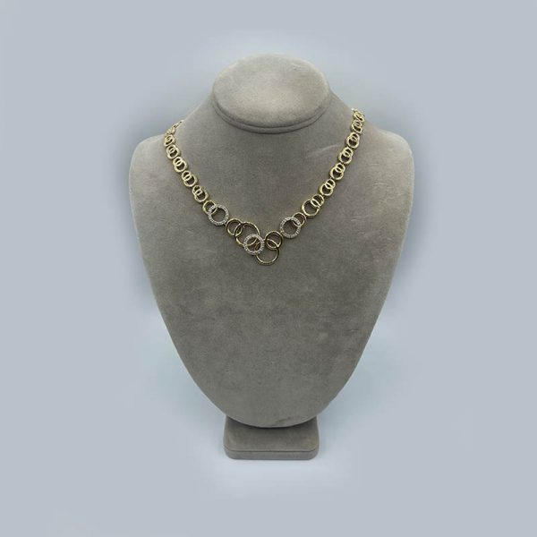 Gold Circles Necklace with diamonds