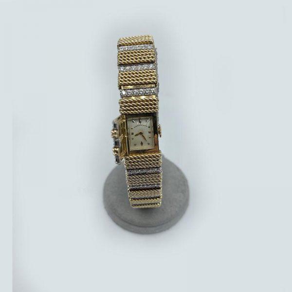 Gold Mesh Watch Bracelet with Diamonds