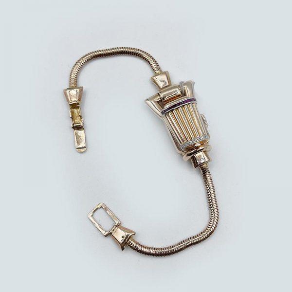 Gold Ruby Diamond watch covered bracelet