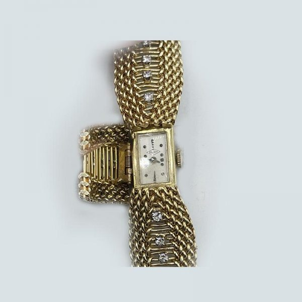 Gold diamond watch-open-close-vin