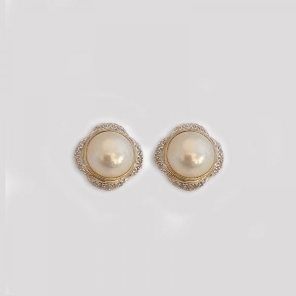 Mabe Pearl button earrings with diamond accents