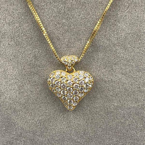 Puffed Diamond Heart necklace2