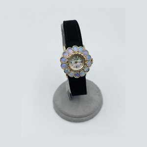 Vintage Lucien Piccard 14k Yellow Gold & Opal Flower Watch