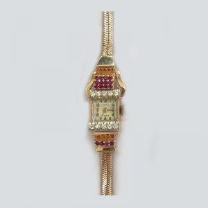 Vintage Ruby Diamond bracelet watch