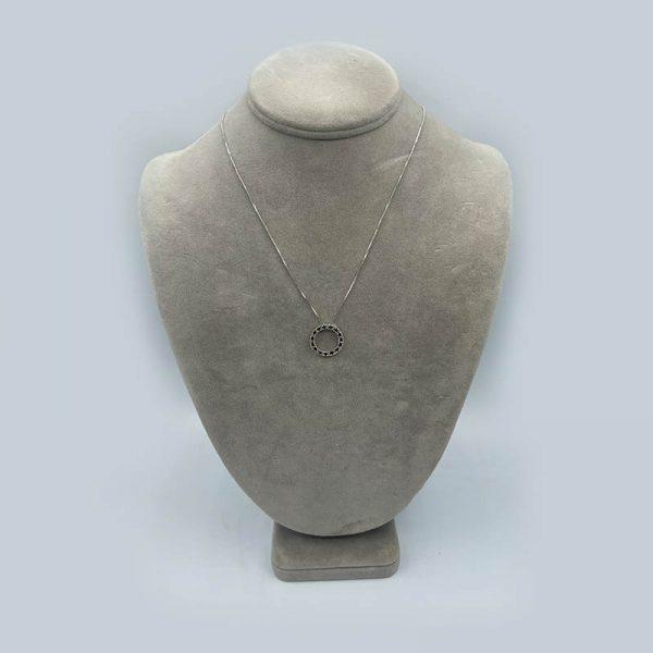 Vintage Sapphire circle pendant in 14K white gold