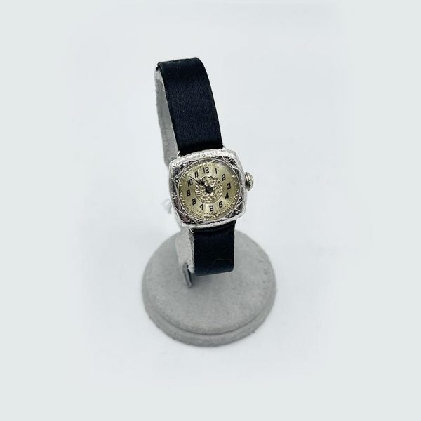Vintage White Gold Watch with grograin watch band